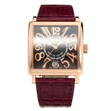 Frank Muller Master Square Swiss ETA 2836 Movement Rose Gold Case with Black Dial-Leather Strap-Sapphire Glass