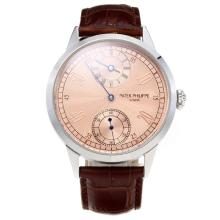 Patek Philippe Classic Unitas 6497 Movement with Champagne Dial-Leather Strap