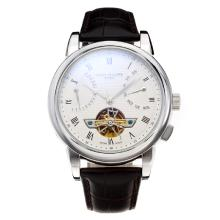 Patek Philippe Classic Automatic Tourbillon with White Dial-Leather Strap-18K Gold Plated Movement