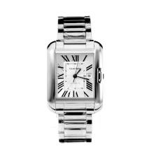 Cartier Tank Swiss ETA 2824 Automatic with White Dial S/S-Sapphire Glass