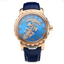 Ulysse Nardin Automatic Rose Gold Case with Blue Dial-Leather Strap