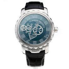 Ulysse Nardin Automatic with Black Dial-Leather Strap-1