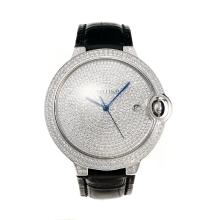 Cartier Ballon bleu de Cartier Swiss ETA 2836 Movement Diamond Case with Diamond Dial-Leather Strap-Sapphire Glass-1