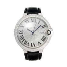 Cartier Ballon bleu de Cartier Swiss ETA 2836 Movement Diamond Case with Diamond Dial-Leather Strap-Sapphire Glass
