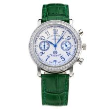Frank Muller Master Square Working Chronograph Diamond Bezel with White Dial-Green Leather Strap