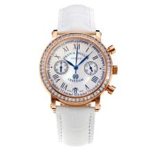 Frank Muller Master Square Working Chronograph Diamond Bezel Rose Gold Case with White Dial-White Leather Strap