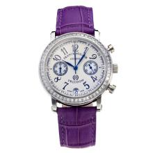 Frank Muller Master Square Working Chronograph Diamond Bezel with White Dial-Purple Leather Strap
