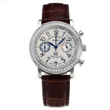 Frank Muller Master Square Working Chronograph Diamond Bezel with White Dial-Brown Leather Strap