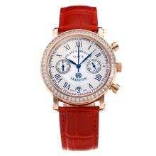 Frank Muller Master Square Working Chronograph Diamond Bezel Rose Gold Case with White Dial-Red Leather Strap