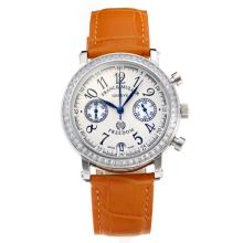 Frank Muller Master Square Working Chronograph Diamond Bezel with White Dial-Orange Leather Strap