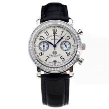 Frank Muller Master Square Working Chronograph Diamond Bezel with White Dial-Black Leather Strap