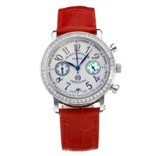 Frank Muller Master Square Working Chronograph Diamond Bezel with White Dial-Red Leather Strap