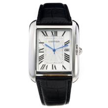 Cartier Tank with White Dial-Leather Strap-2