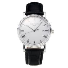 Patek Philippe Calatrava Swiss ETA 2836 Movement with White Dial-Leather Strap-Sapphire Glass