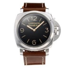Panerai Luminor Marina Manual Winding with Black Dial-Leather Strap