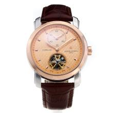 Vacheron Constantin Tourbillon Working Two Time Zone Automatic Two Tone Case with Champagne Dial-Leather Strap