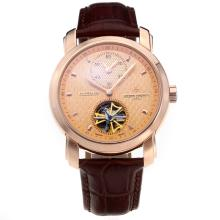 Vacheron Constantin Tourbillon Working Two Time Zone Automatic Rose Gold Case with Champagne Dial-Leather Strap