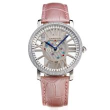 Cartier Calibre de Cartier Diamond Bezel with Skeleton Dial-Light Pink Leather Strap(Gift Box is Included)