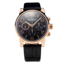 Montblanc Time Walker Chronograph Swiss Valjoux 7750 Movement Rose Gold Case with Black Dial-Leather Strap