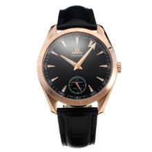 Omega Seamaster Manual Winding Rose Gold Case with Black Dial-Leather Strap
