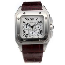 Cartier Santos 100 Working Chronograph with White Dial-Leather Strap