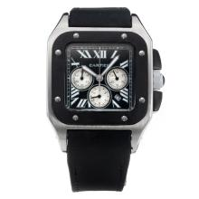 Cartier Santos 100 Working Chronograph with Black Dial-Nylon Strap