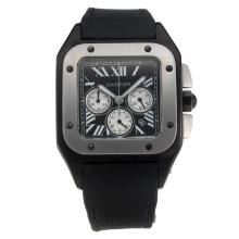 Cartier Santos 100 Working Chronograph PVD Case with Black Dial-Nylon Strap