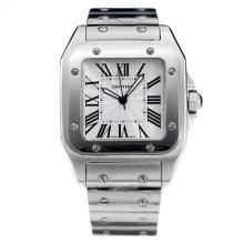 Cartier Santos 100 with White Dial S/S(Gift Box is Included)