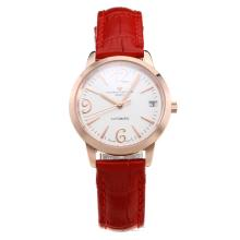 Vacheron Constantin Patrimony Swiss ETA 2671 Movement Rose Gold Case with White Dial-Red Leather Strap