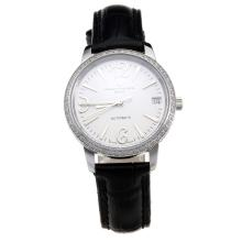 Vacheron Constantin Patrimony Swiss ETA 2671 Movement Diamond Bezel with White Dial-Black Leather Strap