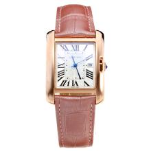 Cartier Tank Rose Gold Case with White Dial-Pink Leather Strap