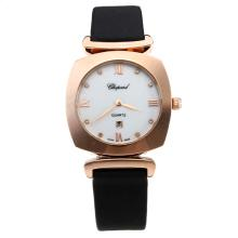 Chopard Happy Sport Rose Gold Case with MOP Dial-Black Leather Strap