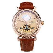 Vacheron Constantin Tourbillon Working Power Reserve Automatic Rose Gold Case with Champagne Dial-Leather Strap