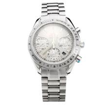 Omega Speedmaster Chronograph Swiss Valjoux 7750 Movement with White Dial S/S-2