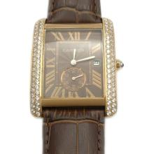 Cartier Tank Rose Gold Case Diamond Bezel with Brown and Strap