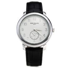 Patek Philippe Number Markers with White Dial-Leather Strap-2