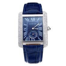 Cartier Tank Diamond Bezel with Blue Dial and Strap