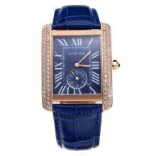 Cartier Tank Rose Gold Case Diamond Bezel with Blue Dial and Strap