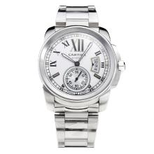 Cartier Calibre de Cartier Swiss ETA 2836 Movement with White Dial S/S