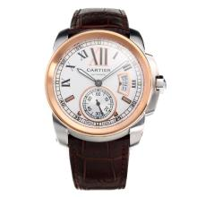 Cartier Calibre de Cartier Swiss ETA 2836 Movement Two Tone Case with White Dial-Leather Strap-1