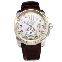 Cartier Calibre de Cartier Swiss ETA 2836 Movement Two Tone Case with White Dial-Leather Strap