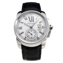 Cartier Calibre de Cartier Swiss ETA 2836 Movement with White Dial-Leather Strap
