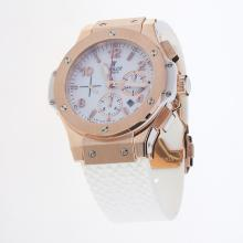 Hublot Big Bang Chronograph Swiss Valjoux 7750 Movement Rose Gold Case with White Dial-Rubber Strap