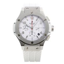 Hublot Big Bang Chronograph Swiss Valjoux 7750 Movement with White Dial-Rubber Strap