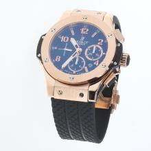 Hublot Big Bang Chronograph Swiss Valjoux 7750 Movement Rose Gold Case with Black Dial-Rubber Strap