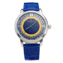 Vacheron Constantin with Blue Dial-Leather Strap