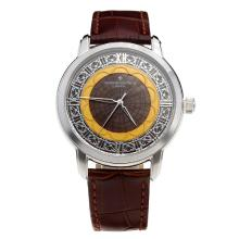 Vacheron Constantin with Brown Dial-Leather Strap