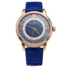 Vacheron Constantin Rose Gold Case with Blue Dial-Leather Strap