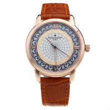 Vacheron Constantin Rose Gold Case with MOP Dial-Leather Strap-1