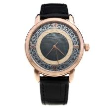 Vacheron Constantin Rose Gold Case with Black Dial-Leather Strap